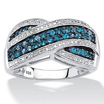 SETA JEWELRY 1/2 TCW Blue and White Diamond Multi-Row Crossover Cocktail Ring in Platinum over Sterling Silver