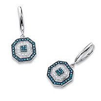SETA JEWELRY 3/8 TCW Blue and White Diamond Octagon Lever Back Drop Earrings in Platinum over Silver
