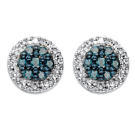 1/2 TCW Blue and White Diamond Halo Stud Earrings in Platinum over Sterling Silver at PalmBeach Jewelry