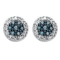 1/2 TCW Blue and White Diamond Halo Stud Earrings in Platinum over Sterling Silver