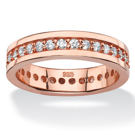 .80 TCW Round Cubic Zirconia Eternity Channel Ring in Rose Gold over Sterling Silver at PalmBeach Jewelry