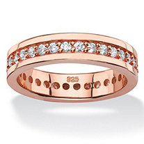 SETA JEWELRY .80 TCW Round Cubic Zirconia Eternity Channel Ring in Rose Gold over Sterling Silver