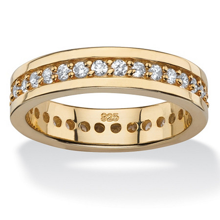 .80 TCW Round Cubic Zirconia Eternity Channel Ring in 14k Gold over Sterling Silver at PalmBeach Jewelry