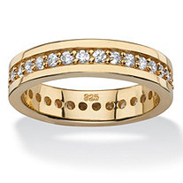 SETA JEWELRY .80 TCW Round Cubic Zirconia Eternity Channel Ring in 14k Gold over Sterling Silver