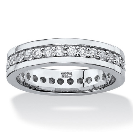 .80 TCW Round Cubic Zirconia Eternity Channel Ring in Platinum over Sterling Silver at PalmBeach Jewelry