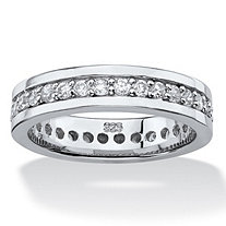 SETA JEWELRY .80 TCW Round Cubic Zirconia Eternity Channel Ring in Platinum over Sterling Silver