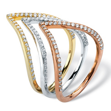 .56 TCW Pave Cubic Zirconia Triangle 3-Pc. Ring Set Sterling Silver, Rose Gold over Silver and 14k Gold over Silver at PalmBeach Jewelry