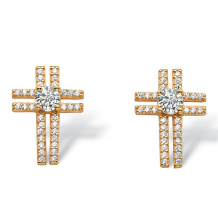 .93 TCW Round and Pave Cubic Zirconia Cross Earrings in 14k Gold over .925 Sterling Silver at PalmBeach Jewelry