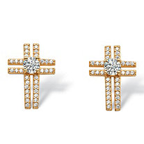 .93 TCW Round and Pave Cubic Zirconia Cross Earrings in 14k Gold over .925 Sterling Silver