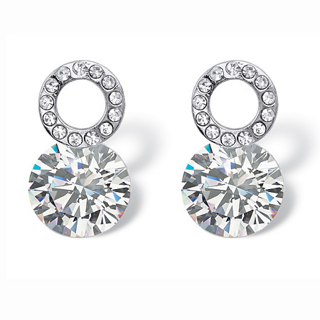 4 TCW Round Cubic Zirconia and Crystal Circle and Stud Drop Earrings in Sterling Silver at PalmBeach Jewelry