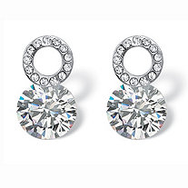 SETA JEWELRY 4 TCW Round Cubic Zirconia and Crystal Circle and Stud Drop Earrings in Sterling Silver