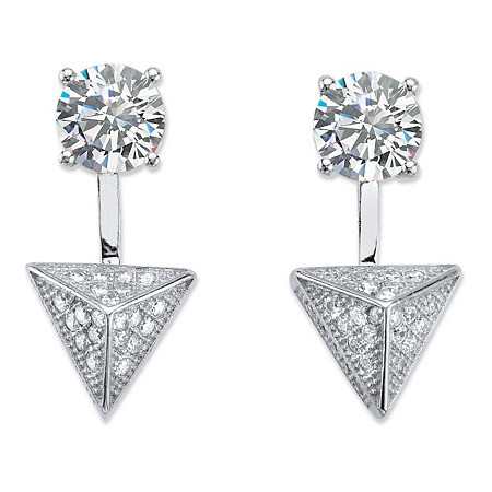 2.40 TCW Pave Cubic Zirconia Pyramid 2-in-1 Ear Jacket Earrings in Sterling Silver at PalmBeach Jewelry
