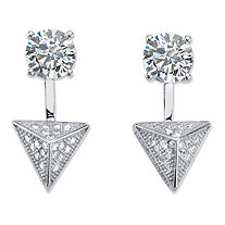 SETA JEWELRY 2.40 TCW Pave Cubic Zirconia Pyramid 2-in-1 Ear Jacket Earrings in Sterling Silver