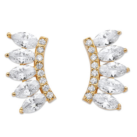 2.74 TCW Marquise-Cut Cubic Zirconia Ear Climber Earrings in 14k Gold over Sterling Silver at PalmBeach Jewelry