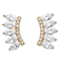 SETA JEWELRY 2.74 TCW Marquise-Cut Cubic Zirconia Ear Climber Earrings in 14k Gold over Sterling Silver