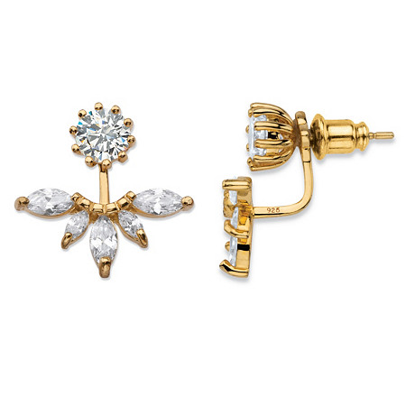 4.36 TCW Marquise-Cut Cubic Zirconia 14k Gold over Sterling Silver 2-in-1 Jacket Earrings at PalmBeach Jewelry