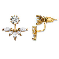 SETA JEWELRY 4.36 TCW Marquise-Cut Cubic Zirconia 14k Gold over Sterling Silver 2-in-1 Jacket Earrings