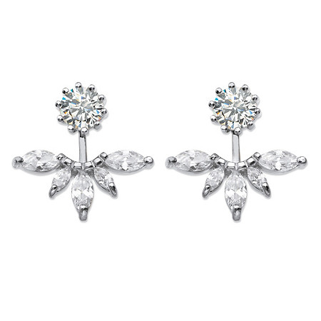 4.36 TCW Marquise-Cut Cubic Zirconia 2-in-1 Jacket Earrings in Sterling Silver at PalmBeach Jewelry