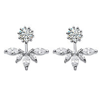 SETA JEWELRY 4.36 TCW Marquise-Cut Cubic Zirconia 2-in-1 Jacket Earrings in Sterling Silver