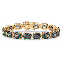 SETA JEWELRY 40.64 TCW Oval-Cut Mystic Cubic Zirconia Tennis Bracelet 14k Gold-Plated 7 1/4