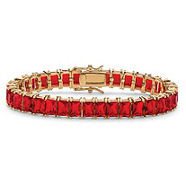 Emerald-Cut Simulated Ruby Tennis Bracelet 39.10 TCW 14k Gold-Plated 7 1/4""