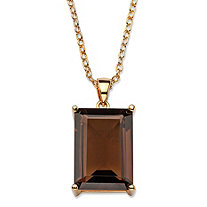 24 TCW Emerald-Cut Genuine Smoky Topaz 14k Gold-Plated Pendant Necklace 16""