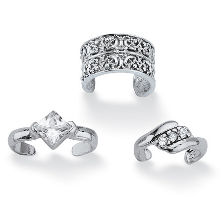 .40 TCW Princess-Cut and Round Cubic Zirconia .925 Sterling Silver Three-Piece Ear Cuff Set at PalmBeach Jewelry