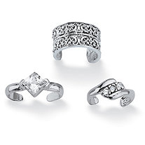 SETA JEWELRY .40 TCW Princess-Cut and Round Cubic Zirconia .925 Sterling Silver Three-Piece Ear Cuff Set