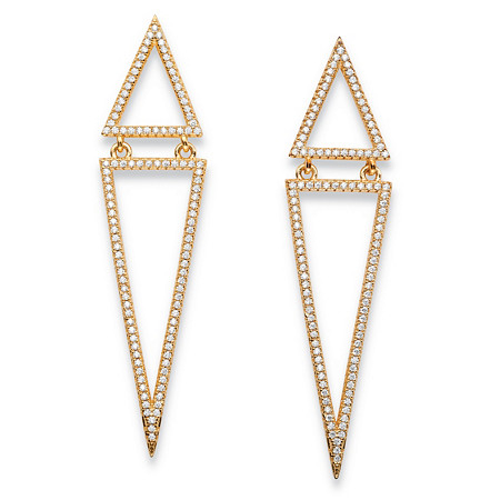 1.13 TCW Round Pave Cubic Zirconia Triangle Drop Earrings 14k Gold-Plated at PalmBeach Jewelry