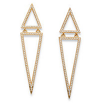 1.13 TCW Round Pave Cubic Zirconia Triangle Drop Earrings 14k Gold-Plated