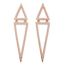 1.13 TCW Pave Cubic Zirconia Double Triangle Drop Earrings Rose Gold-Plated