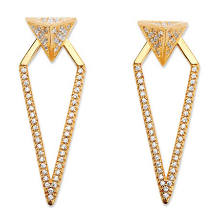 .75 TCW Pave Cubic Zirconia 2-in-1 Pyramid Triangle Jacket Earrings 14k Gold-Plated at PalmBeach Jewelry