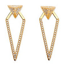 .75 TCW Pave Cubic Zirconia 2-in-1 Pyramid Triangle Jacket Earrings 14k Gold-Plated