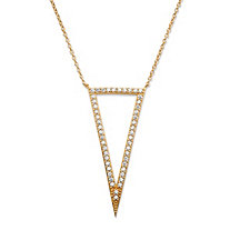 ".72 TCW Pave Cubic Zirconia Triangle Pendant Necklace 14k Gold-Plated 18""-20"""