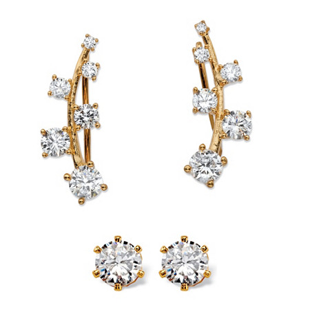 2.22 TCW Cubic Zirconia Ear Climber and Stud 2-Pair Earrings Set in 14k Gold over Sterling Silver at PalmBeach Jewelry