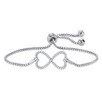 Pave Cubic Zirconia Infinity Heart Charm Adjustable Slider Bolo Bracelet ONLY $38.92