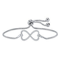 .28 TCW Pave Cubic Zirconia Infinity Heart Charm Adjustable Slider Bolo Bracelet in Sterling Silver 10""