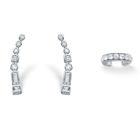 1.20 TCW Cubic Zirconia Ear Climber and Cuff Two-Piece Set in .925 Sterling Silver at PalmBeach Jewelry