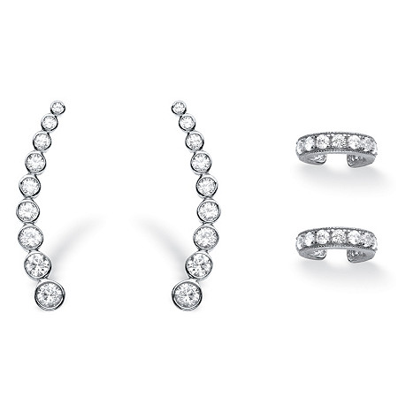 1.40 TCW Cubic Zirconia Two-Piece Ear Climber and Cuff Set in Sterling Silver at PalmBeach Jewelry