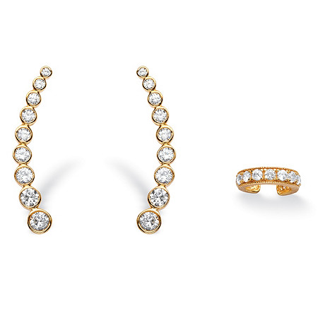 1.40 TCW Cubic Zirconia Two-Piece Ear Climber and Cuff Set in 14k Gold over Sterling Silver at PalmBeach Jewelry