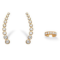 1.40 TCW Cubic Zirconia Two-Piece Ear Climber and Cuff Set in 14k Gold over Sterling Silver