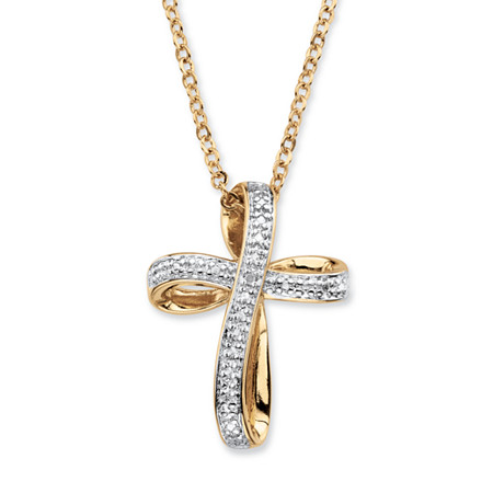 "White Diamond Accent Two-Tone Pave-Style Ribbon Loop Cross Pendant Necklace 18k Yellow Gold-Plated 18"" at PalmBeach Jewelry"