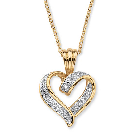 Diamond Accent Two-Tone Pave-Style Looped Heart Pendant Necklace 18k Gold-Plated 18