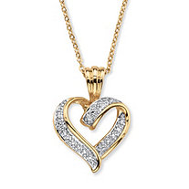 "Diamond Accent Two-Tone Pave-Style Looped Heart Pendant Necklace 18k Gold-Plated 18""-19"""