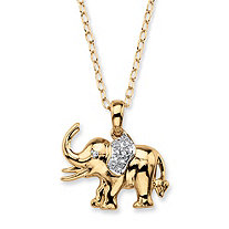 White Diamond Accent Two-Tone Pave-Style Elephant Charm Pendant Necklace 18k Gold-Plated 18