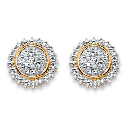 Round White Diamond Accent Pave-Style Two-Tone Cluster Stud Earrings 18k Gold-Plated at PalmBeach Jewelry