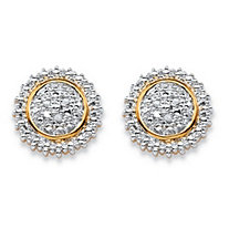 SETA JEWELRY Round White Diamond Accent Pave-Style Two-Tone Cluster Stud Earrings 18k Gold-Plated