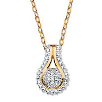 Diamond Accent Pave-Style Two-Tone Teardrop-Shaped Cluster Pendant Necklace 18k Gold-Plated Adjustable 18