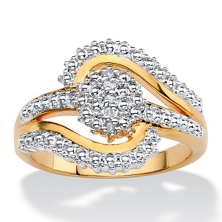 Round White Diamond Accent Pave-Style Two-Tone Cluster Swirl Ring 18k Gold-Plated at PalmBeach Jewelry