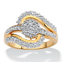 Round White Diamond Accent Pave-Style Two-Tone Cluster Swirl Ring 18k Gold-Plated